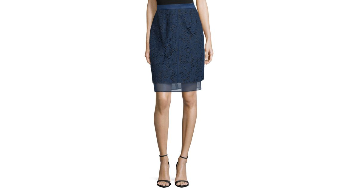 j mendel lace overlay pencil skirt in blue lyst