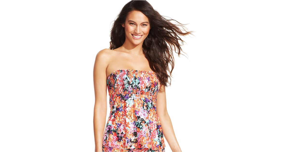 2763d64f6b874 Lyst - Kenneth Cole Reaction Floral Adjustable Halter Tankini Top