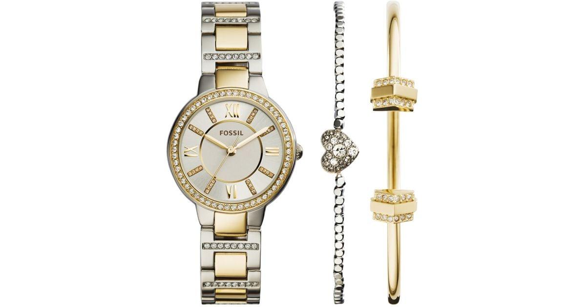 Lyst Fossil Women S Virginia Crystal Accent Two Tone Stainless Steel Bracelet Watch 2 Bracelets Box Set 30mm Es3871set In Metallic