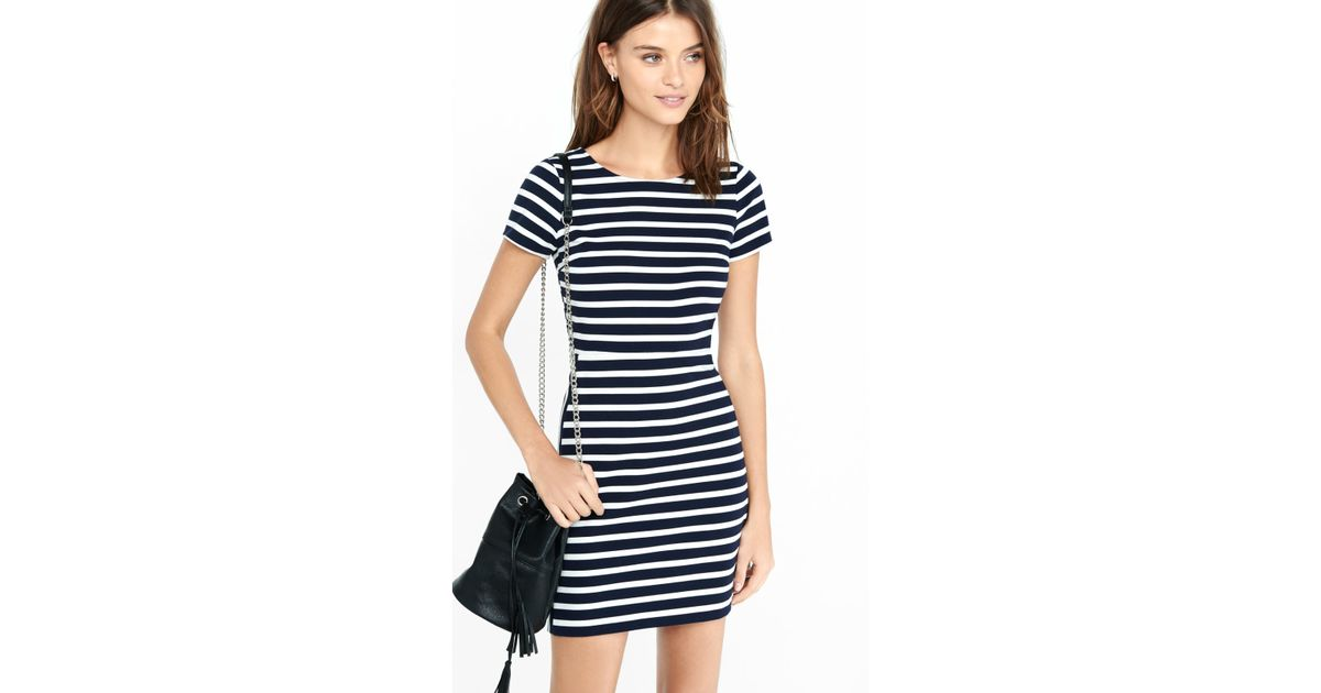 Lyst - Express Navy And White Striped Aline Mini Dress in Blue 010fa896b