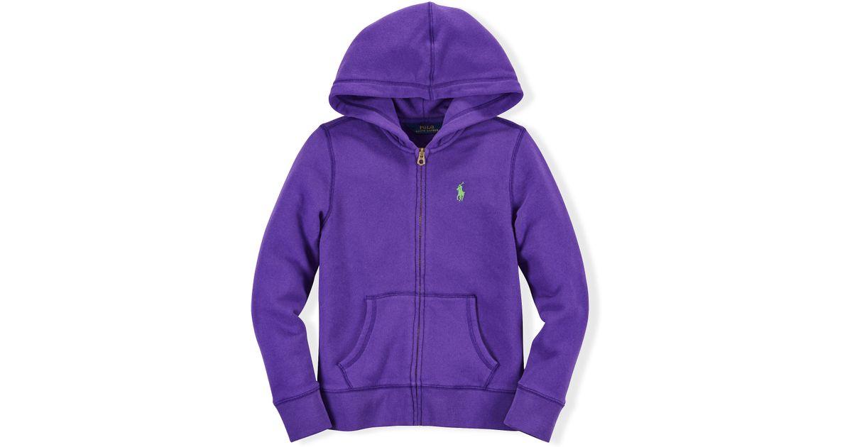 ... new zealand lyst ralph lauren cotton blend fleece hoodie in purple  fd7a1 7b99b 2d384156437e