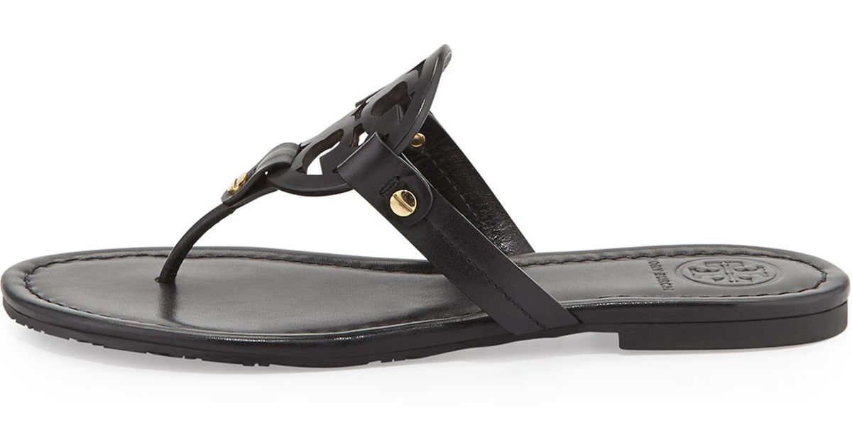 0c4e40ddf821bb Lyst - Tory Burch Miller Flat Leather Thong Sandals in Black