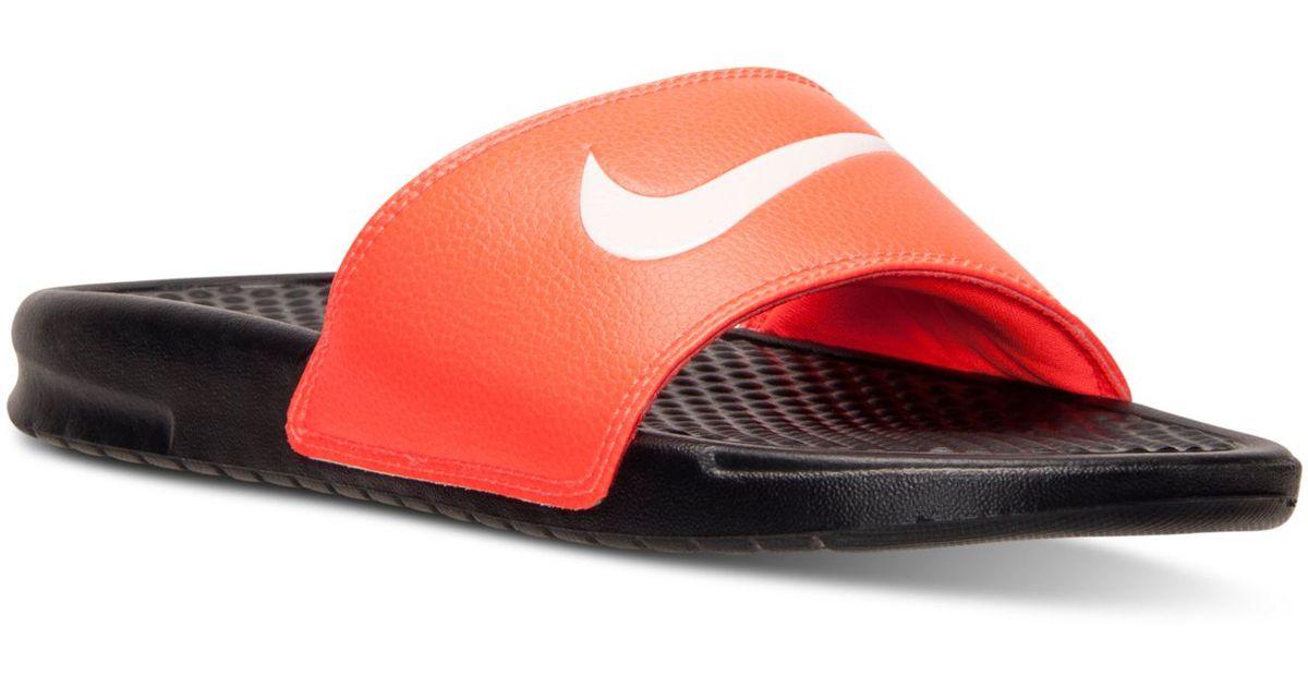 b42edd1abdb37 Lyst - Nike Men s Benassi Swoosh Slide Sandals From Finish Line in Red for  Men