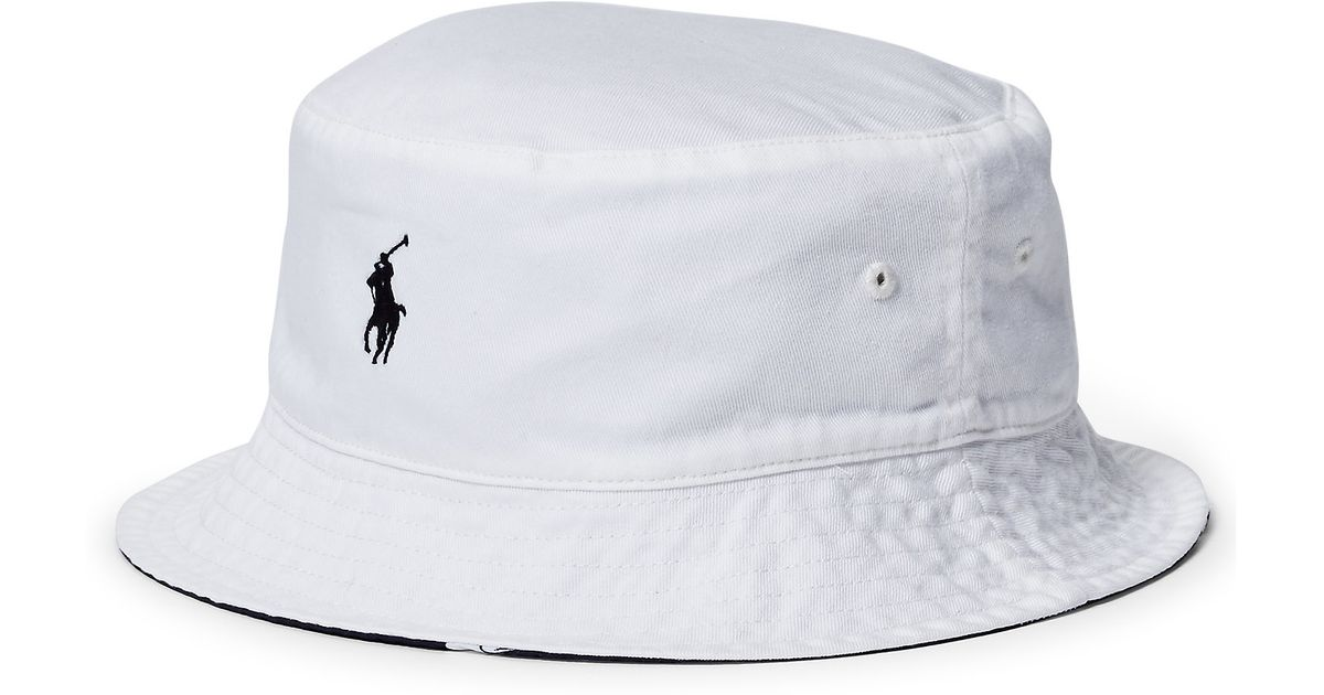 b75945127f9 Lyst Polo Ralph Lauren Reversible Twill Bucket Hat In White For Men