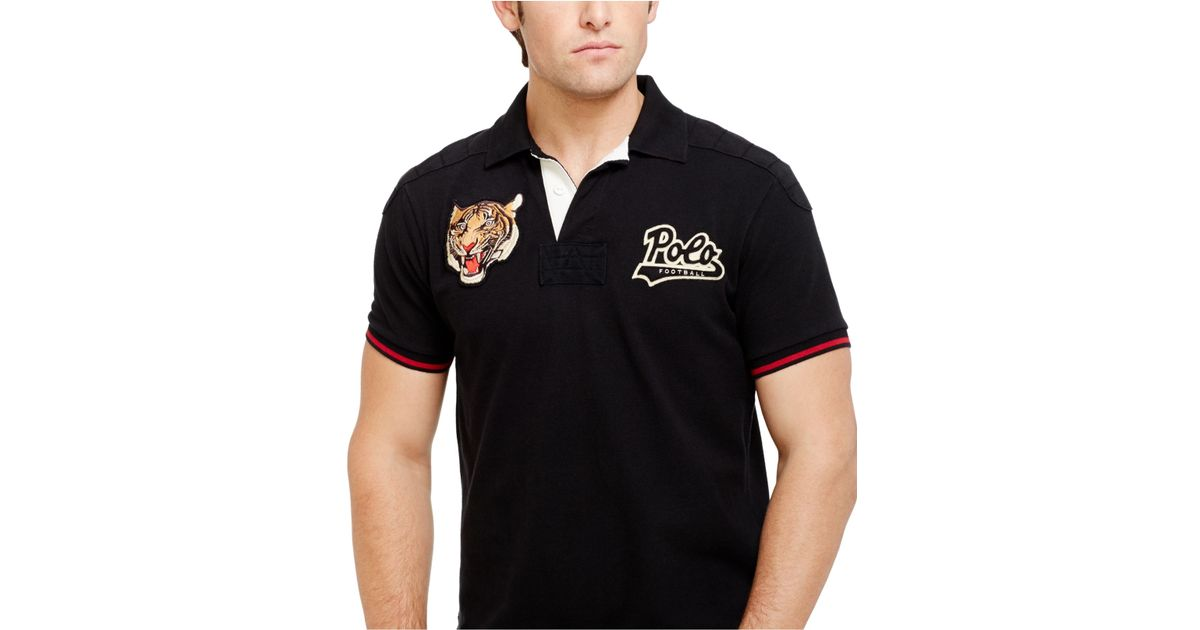 1a02bb598 Polo Ralph Lauren Custom-Fit Tiger-Head Polo in Black for Men - Lyst