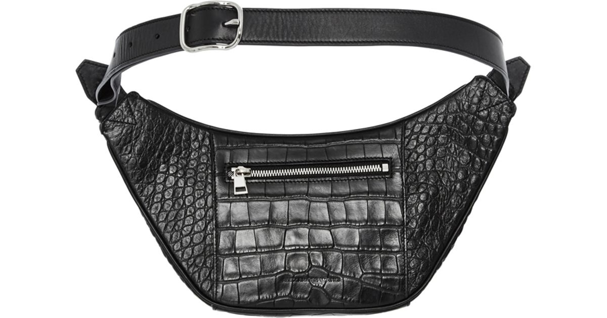 Lyst - Alexander Wang Black Matte Croc Embossed Calf Leather Padlock Belt  Bag in Black
