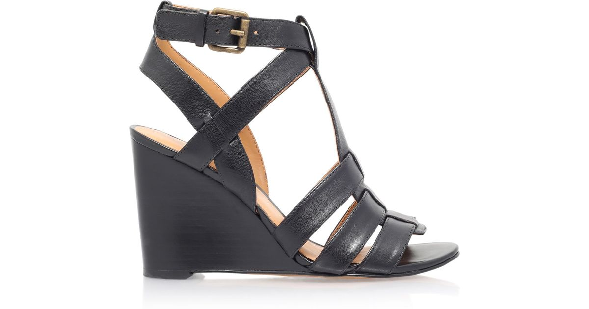 nine west farfalla high heel wedge sandals in black lyst