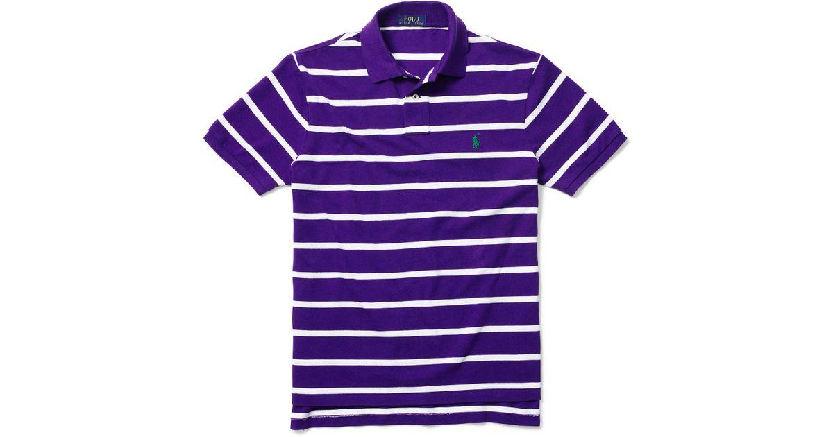 7c3d6385f Polo Ralph Lauren Custom-fit Striped Mesh Polo in Purple for Men - Lyst