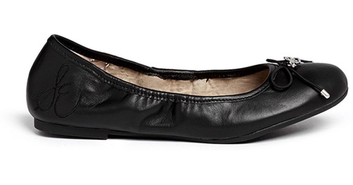 f113b3918bbad Lyst - Sam Edelman  felicia  Leather Junior Ballerina Flats in Black