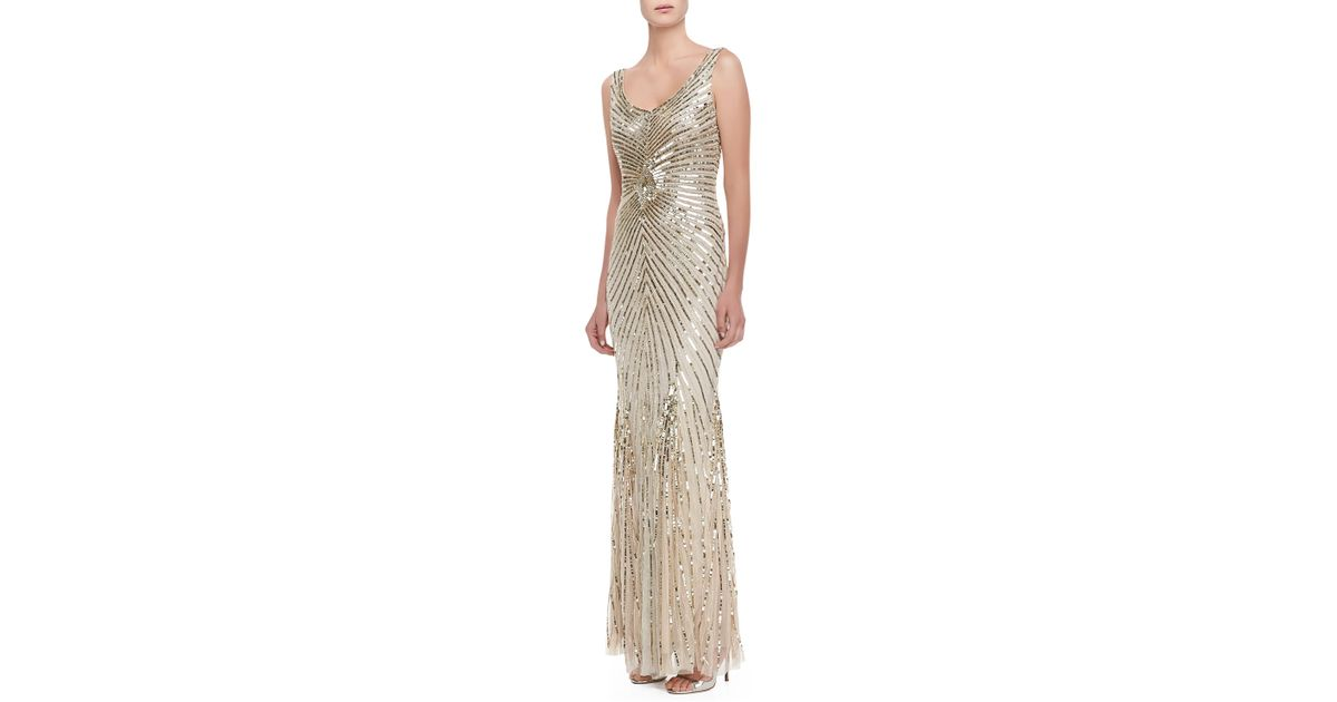 Lyst - Aidan Mattox Sleeveless Deco Bead Sequin Gown Champagne in ...