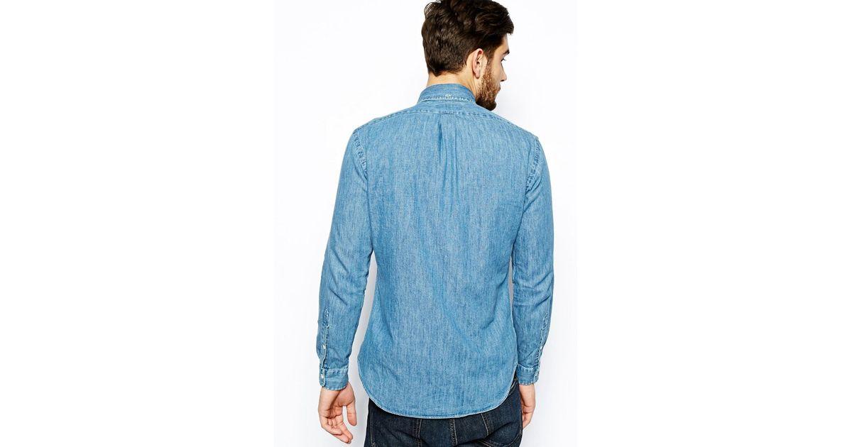 b25abad309b Lyst - Polo Ralph Lauren Shirt in Dark Wash Denim Slim Fit in Blue for Men