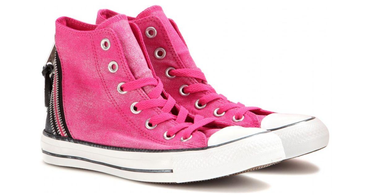 c61fb0dc28d1 Lyst - Converse Chuck Taylor Triple Zip Hightops in Pink