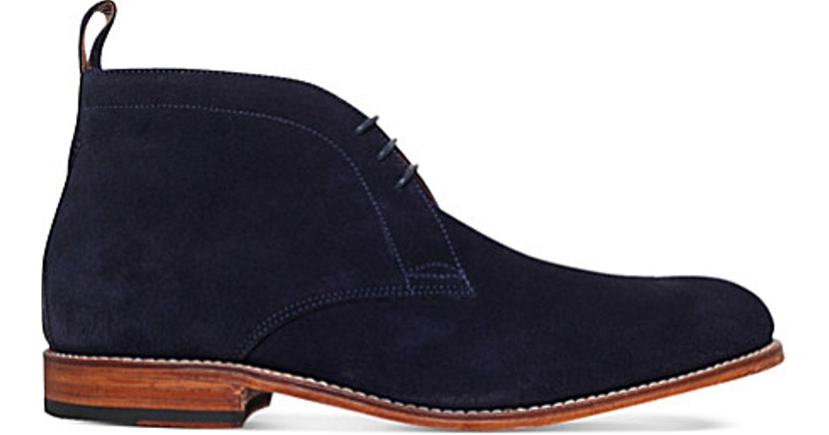 foot the coacher suede desert boots in blue for