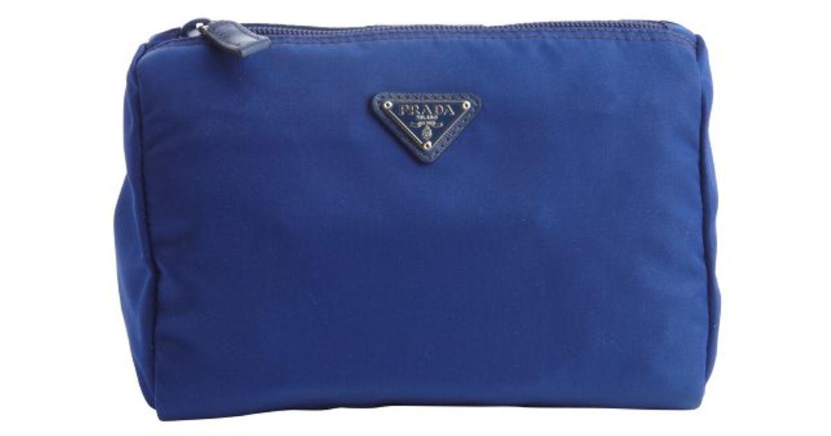Prada Blue Nylon Necessaire Cosmetic Case in Blue | Lyst