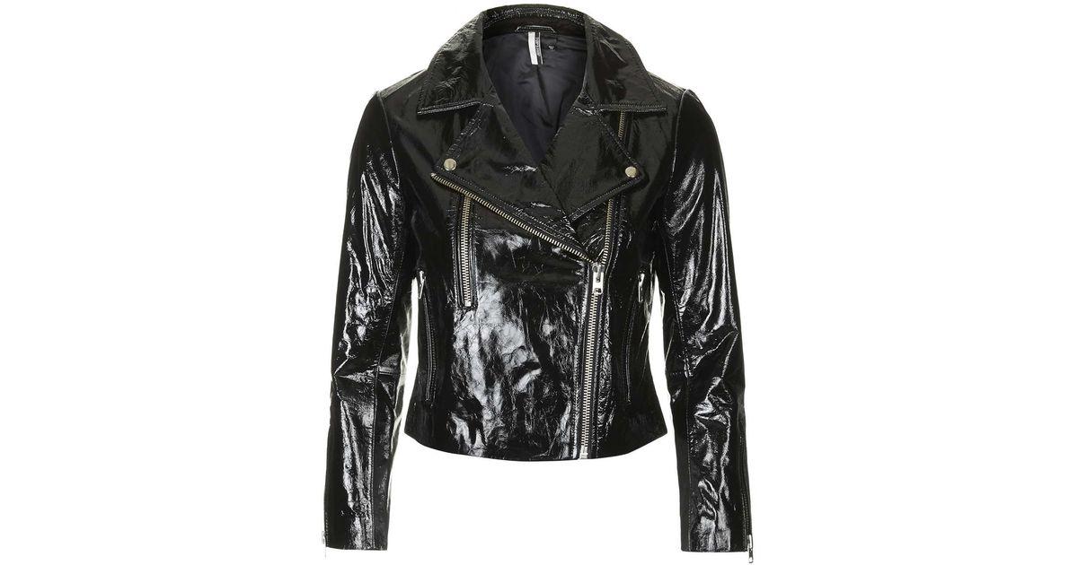 Black patent leather jacket