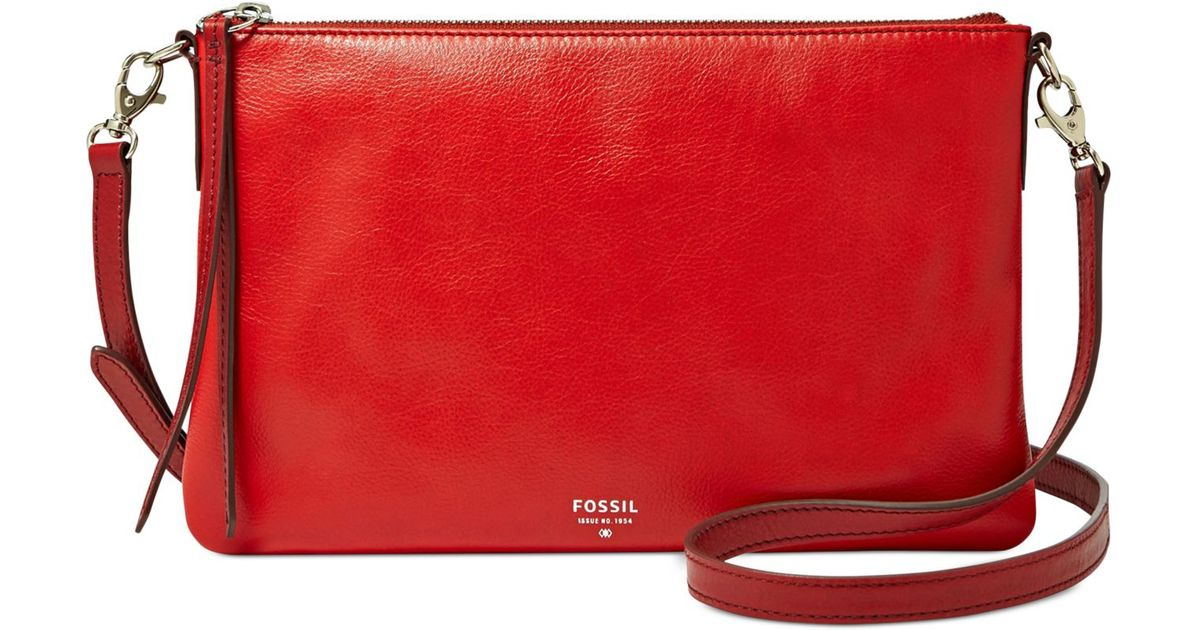 Lyst - Fossil Sydney Leather Top Zip Crossbody in Red 7bae9d5ca1e88