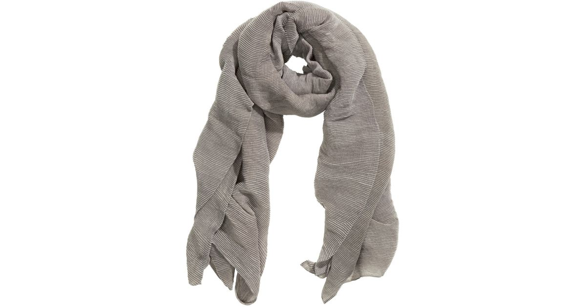 2c8c951a68f6c H M Pleated Scarf in Gray - Lyst