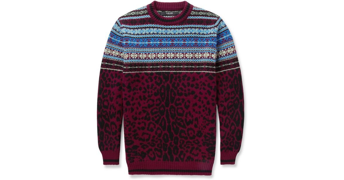 Sibling Leopard Fair Isle Wool Sweater in Red for Men | Lyst
