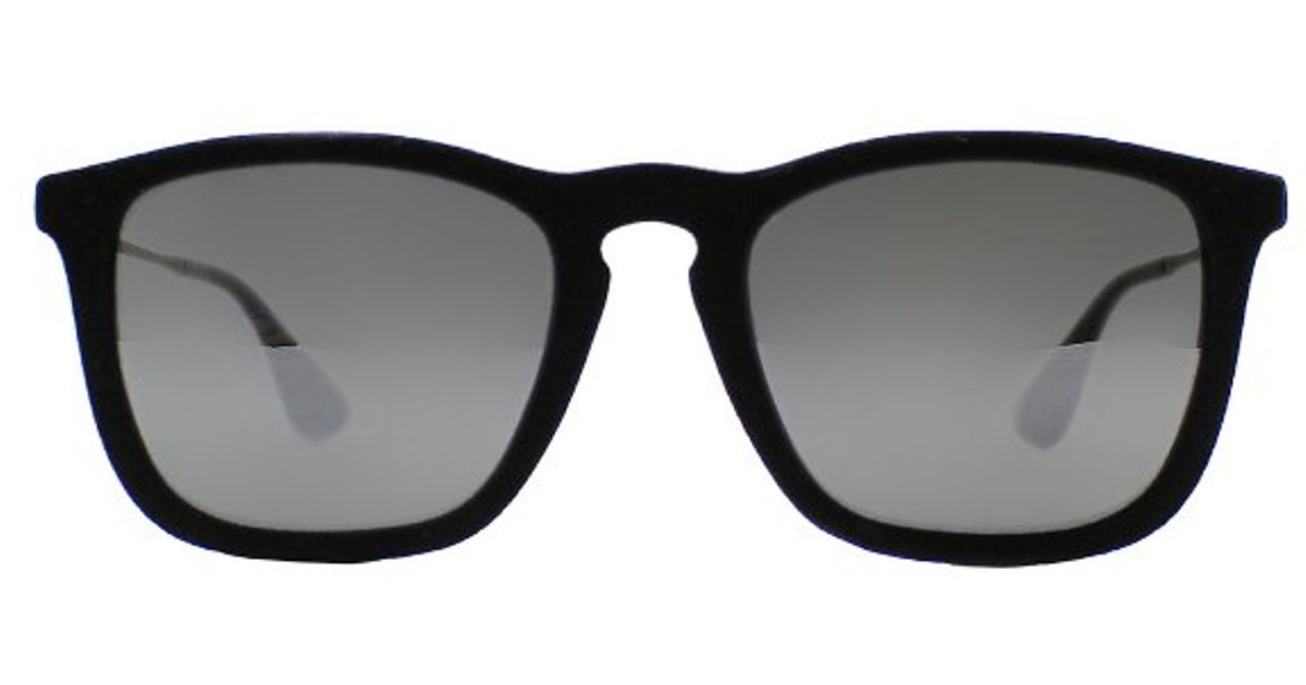 72fcfc378c1dde Ray-Ban Ray Ban Rb4187 Chris 60756G Velvet Black Sunglasses Grey Mirror  Silver Lens in Black - Lyst