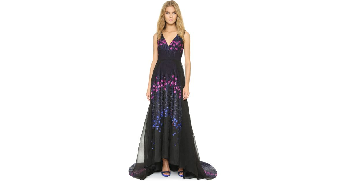Lela Rose - Purple Shimmer Floral Accent Gown - Magenta Multi - Lyst