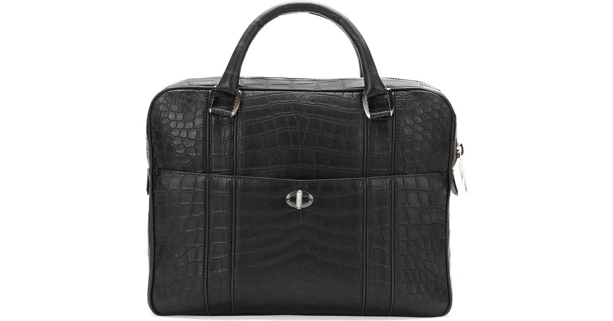 c3771c3d2 Stefano Ricci Crocodile Leather Large Briefcase in Black for Men - Lyst