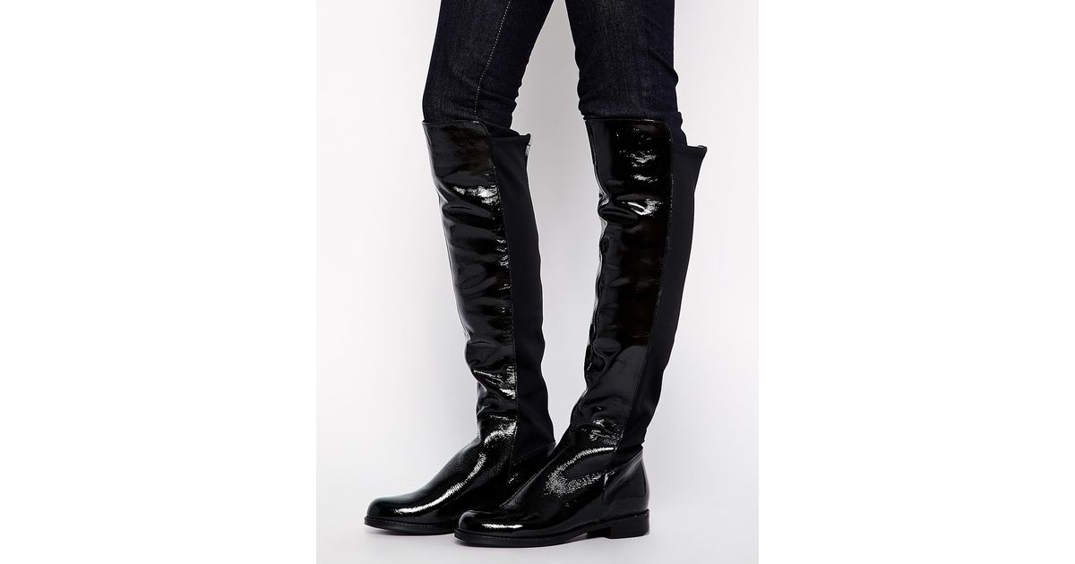 15f51b898f6 Lyst - ALDO Dyanna Stretch Back Patent Over The Knee Boots in Black