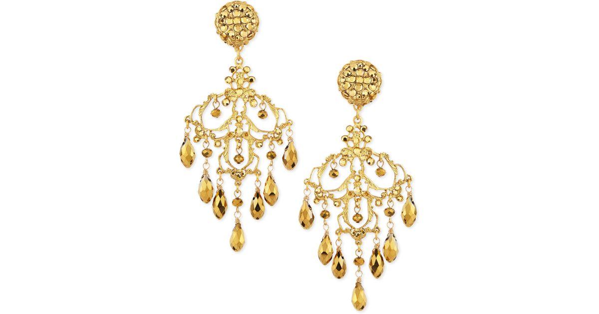 Jose & Maria Barrera 24k Gold-Plated Hammered Chandelier Earrings dE3Uq9B