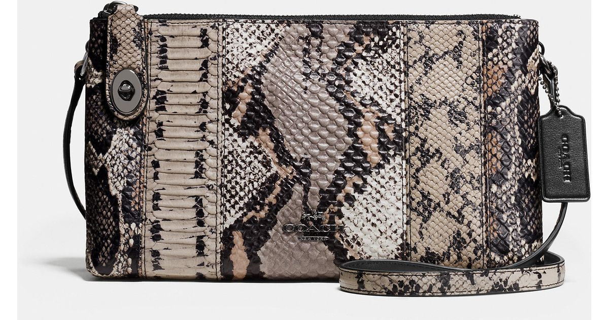 ... signature jacquard leather crossbody bag d824b 8e928  ireland lyst coach  crosby crossbody in pieced exotic embossed leather in metallic fd384 dcdcd 1fd905a6195a7