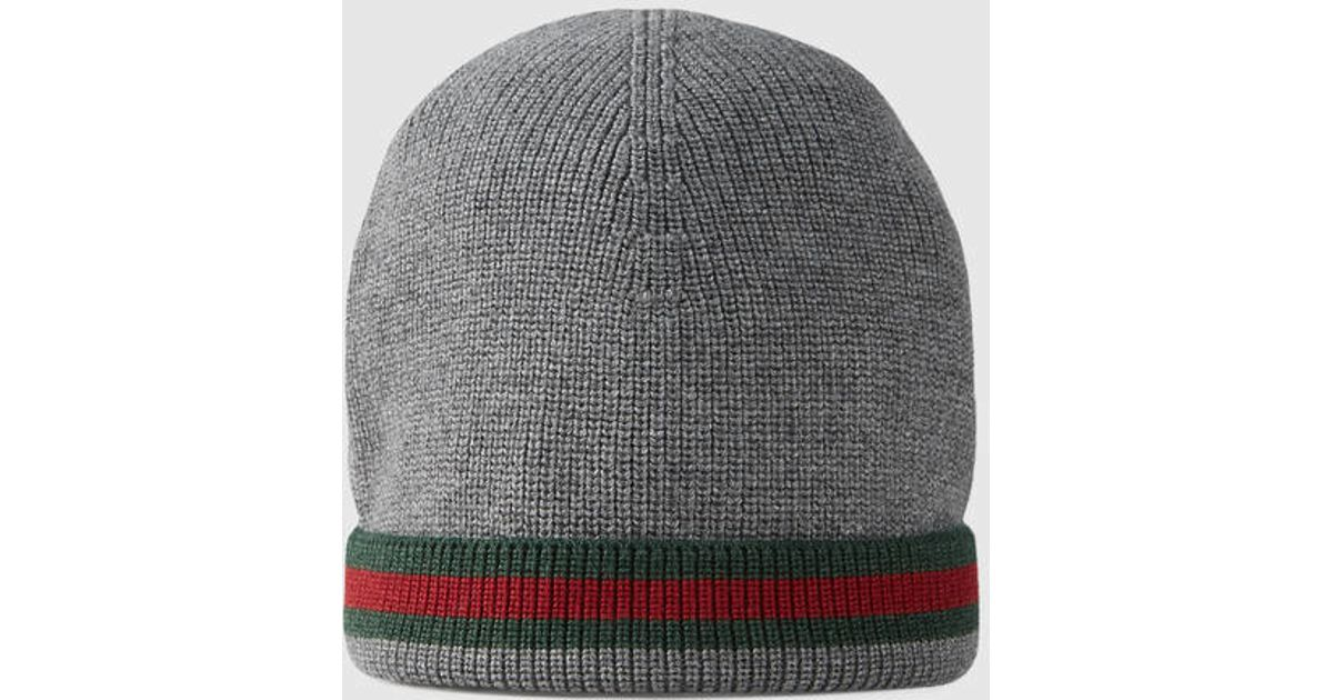 fc1d2a09cb609 Gucci Knit Wool Web Hat in Gray for Men - Lyst
