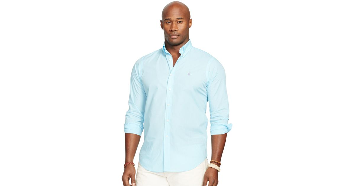 Polo ralph lauren big and tall long sleeve poplin shirt in for Big and tall long sleeve shirts