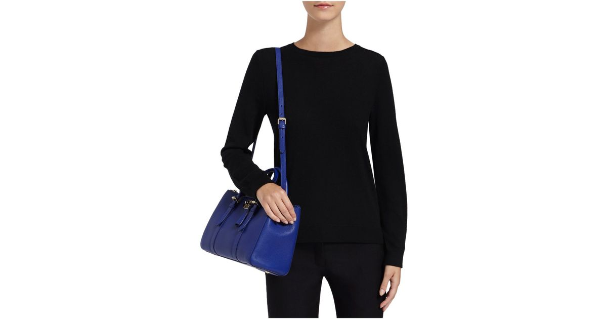24af01ce43 ... discount code for lyst mulberry bayswater small double zip classic  grain leather tote in blue ca3d7