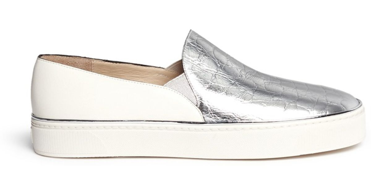 Stuart Weitzman Metallic Slip-On Sneakers for sale cheap price from china fkFFwoE