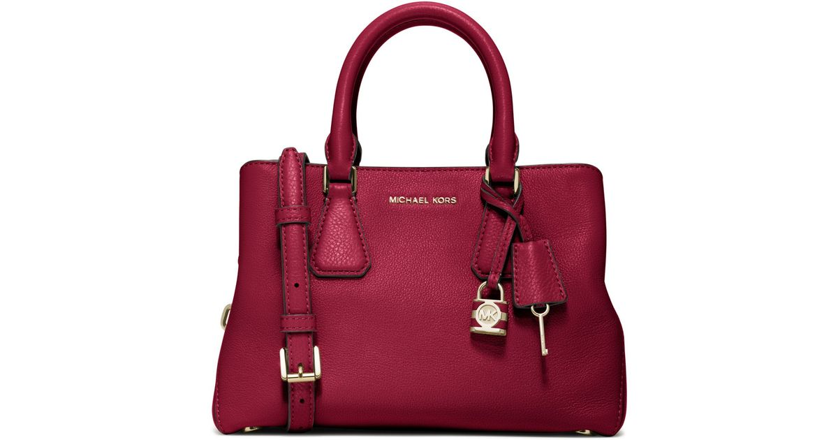 cb9ef4b8e1 Lyst - Michael Kors Camille Small Leather Satchel in Red
