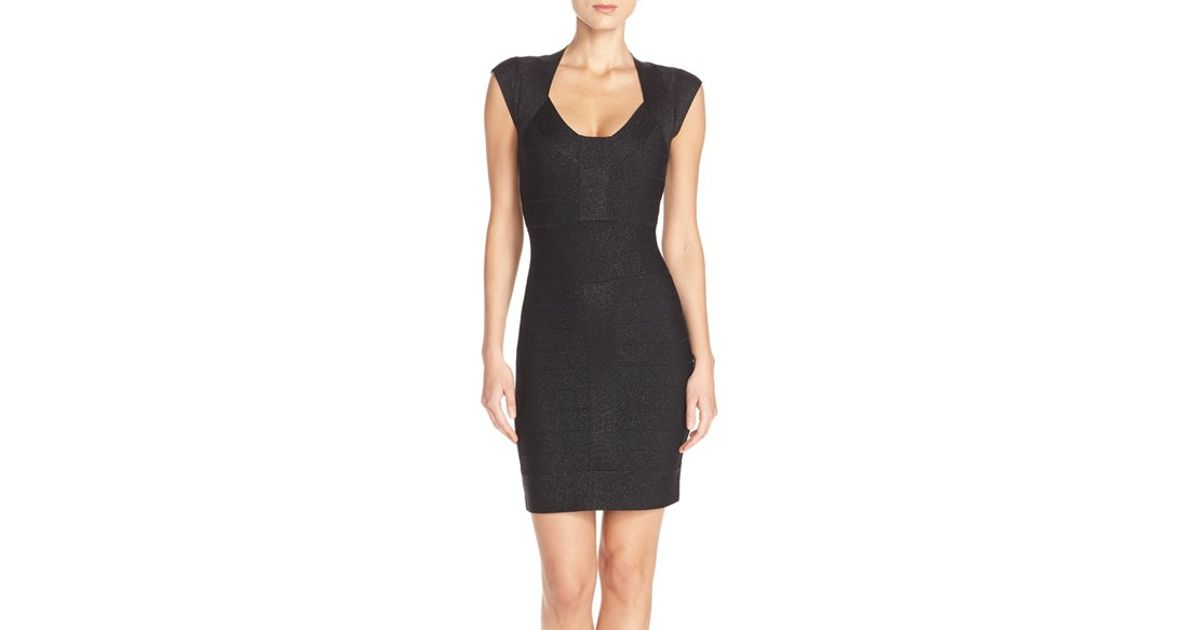 33dac3f2373 French Connection 'danni' Metallic Knit Bandage Dress in Black - Lyst