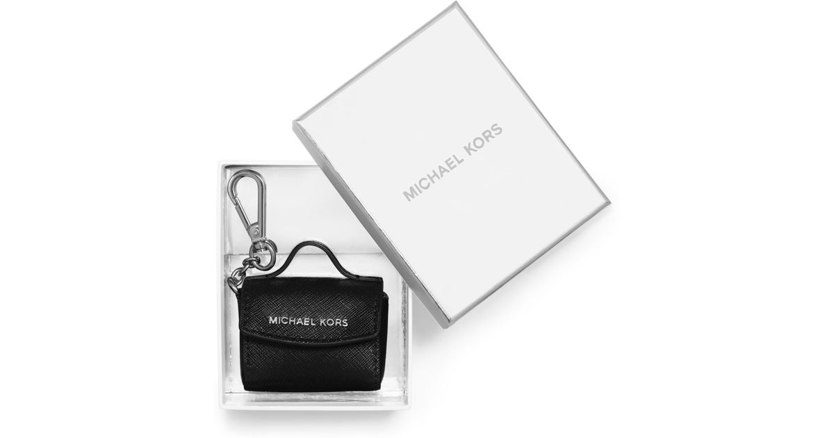 735b45d60126 Michael Kors Ava Saffiano Leather Coin Purse Key Chain in Black - Lyst