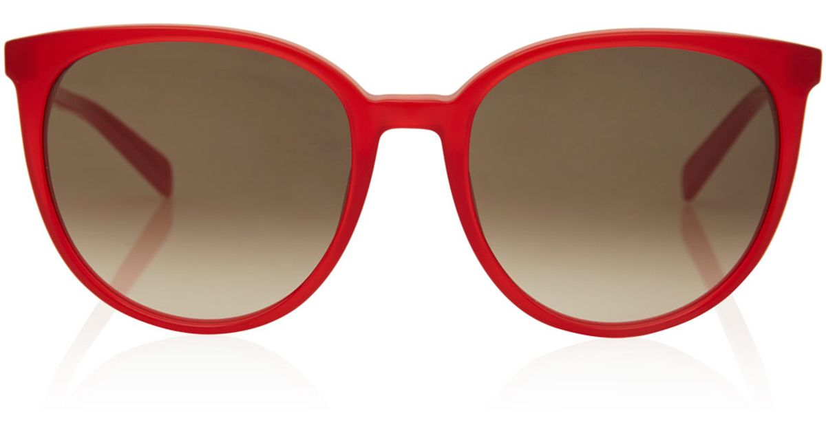 Celine Red Sunglasses  céline red thin frame acetate sunglasses in red lyst