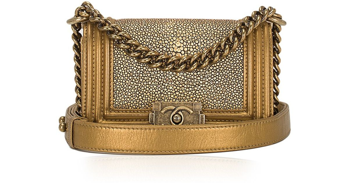 37af9f3d88f3 Madison Avenue Couture Chanel Metallic Stingray Calfskin Mini Boy Bag in  Metallic - Lyst