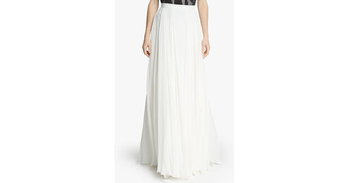 Halston Flowy Georgette Maxi Skirt in White | Lyst
