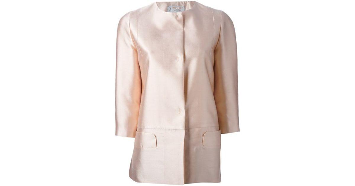 Alberto biani Collarless Jacket in Pink | Lyst
