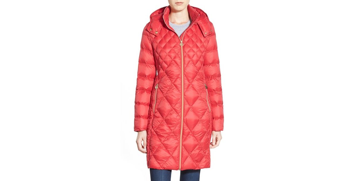 034a75f9d7d MICHAEL Michael Kors Packable Diamond Quilted Down Coat, Red in Red - Lyst