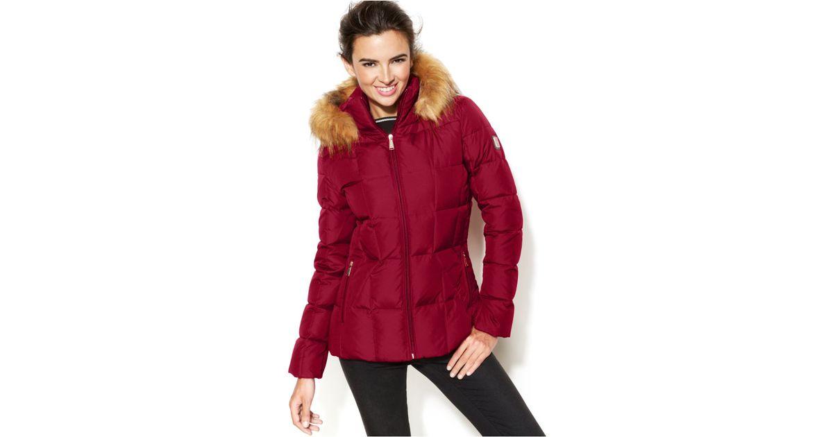 93b8860ceb45 Calvin Klein Women S Faux Fur Trim Hooded Maxi Puffer Jacket ...