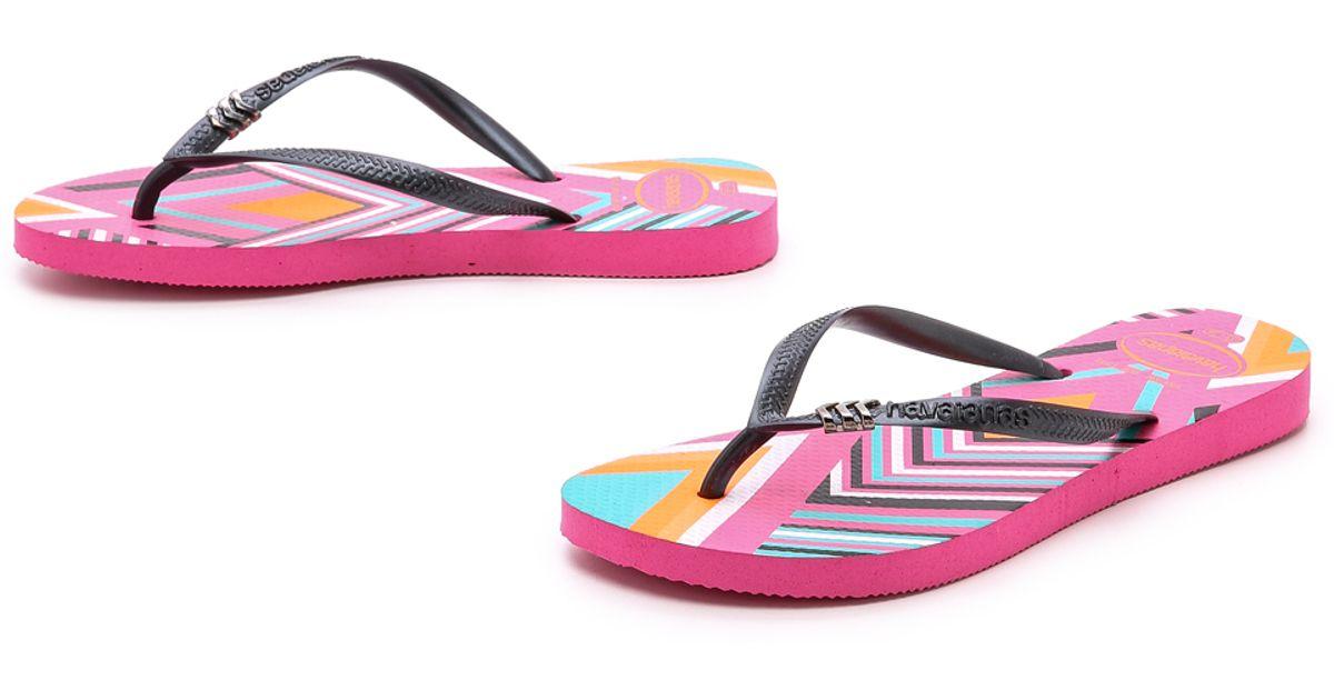 b05cb87c760798 Lyst - Havaianas Slim Tribal Flip Flops - Shocking Pink in Pink