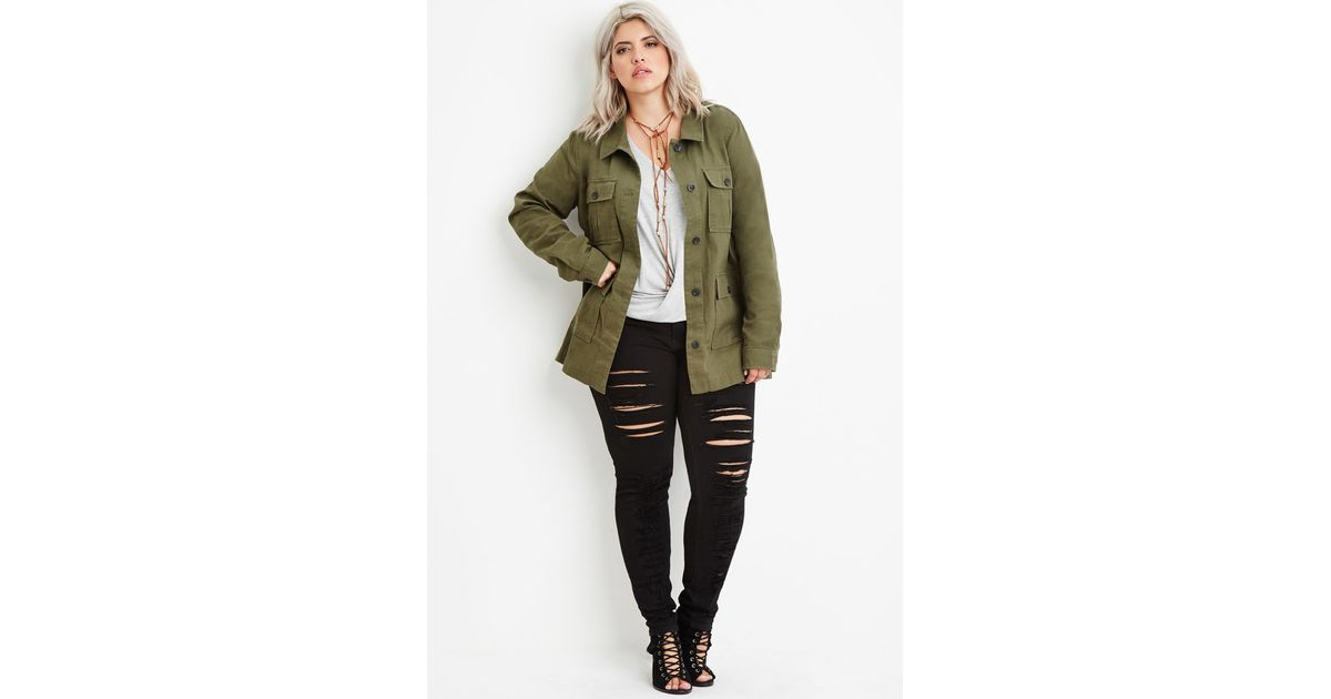 07144e6feb5 Lyst - Forever 21 Plus Size Utility Jacket in Green