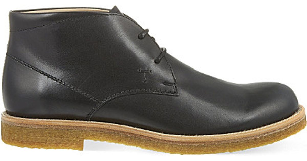 tod s crepe leather chukka boots in black for lyst