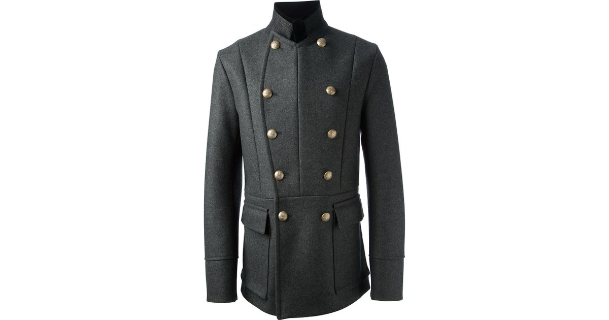 26137087be17 Lyst - Gucci Military Peacoat in Gray for Men