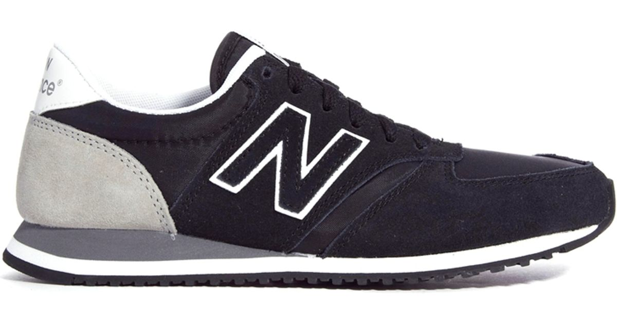 new balance black and grey 420 suede mix trainers