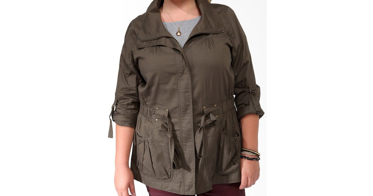6b8bd700c4aee Lyst - Forever 21 Plus Size Buckle Tab Utility Jacket in Green
