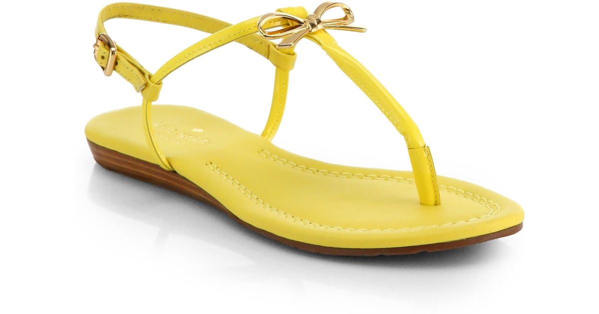 56cd04996fd Lyst - Kate Spade Tracie Patent Leather Thong Sandals in Yellow