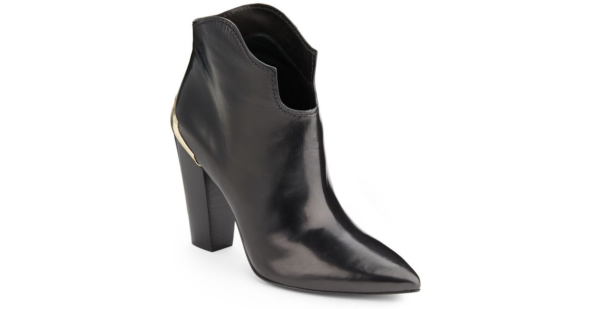 d4fa538aa764 Sigerson Morrison Vesta Lacquer trimmed Leather Ankle Boots in Black - Lyst