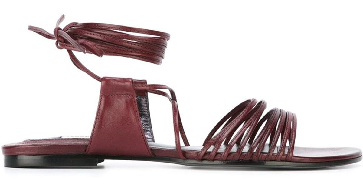 dorothee schumacher strappy flat sandals in red lyst. Black Bedroom Furniture Sets. Home Design Ideas